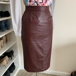 Vintage Genuine Leather Pencil Skirt - 4